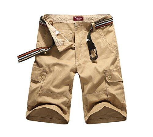 CANASOUR Outdoor Men's Twill Cargo Shorts (32, Khaki)