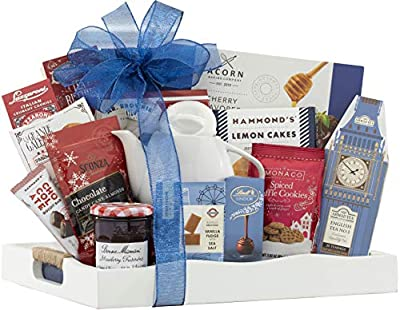 Wine Country Gift Baskets Tea Time Ceramic Teapot English Tea Beautiful Reusable Breakfast Tray w/ Handles Cookies Fruit Preserves Ghirardelli and more Sweets Perfect Gifts for Her