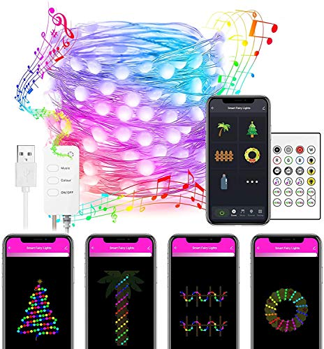 Nobent Alexa LED Fairy Lights 5M - Smart WiFi Christmas String Lights Music Sync, App & Remote Controlled, Works with Echo Google Home, USB Powered DreamColour Twinkle Lights for Bedroom Party Wedding