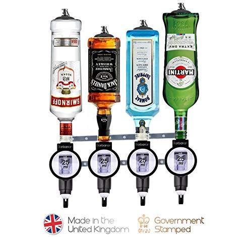 Barbarian 4 Flaschenoptik für Spirituosen – Bar Butler Schnaps-Mess-Halterung für Alkohol Getränkespender Hausbar Garage Männerhöhle