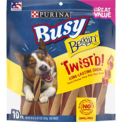 Purina Busy With Beggin#039 Made in USA Facilities Small/Medium Breed Dog Treats Twist#039d  10 ct Pouch