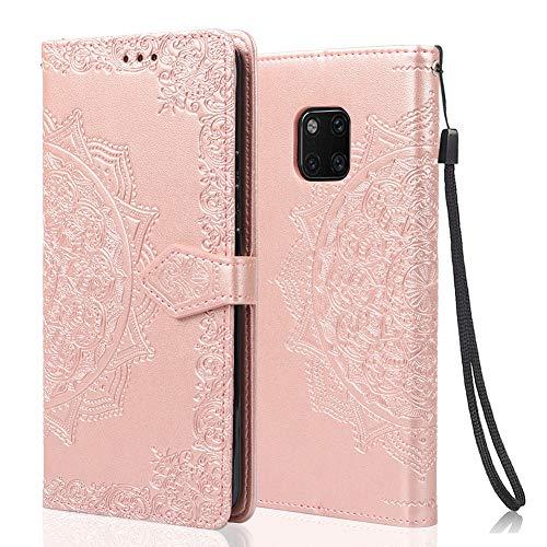 achoTREE Coque pour Huawei Mate 20 Pro, Premium PU Cuir de Protection [Stand Support] [Porte-Cartes de Crédit] Portefeuille Étui Housse Coque pour Huawei Mate 20 Pro - Or Rose