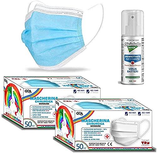 mascherine x bambini antivirus 100x Mascherine Chirurgiche Bambini Certificate CE UNI EN 14683