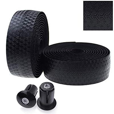 KINGOU Road Bike Handlebar Tape PU Anti-Slip Fixed Gear Bicycle Bar Tapes - Black