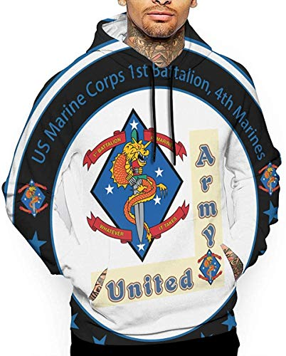 Ksiwre Sudadera con Capucha US Marine Corps 1st Battalion, 4th Marines Men's 3D Pullover,Long Sleeve Hoodies,Sweatshirt Tops