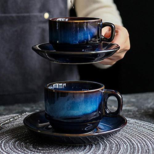 xingfuankang 1 Uds 100 Ml / 180 Ml Taza De Café De Cerámica con Platillo Juego Creativo Desayuno Leche Taza De Té Estilo Japonés Simple Retro Azul Utensil_180Ml_Cup_Saucer