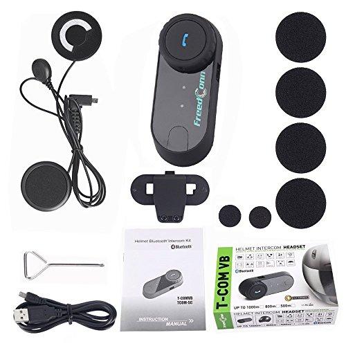 FreedConn Motorrad Intercom Bluetooth Headsets, T-COM VB Motorradhelm Interphone Gegensprechanlage Kommunikationssysteme 2-3 Rider Intercom Kit Mit 800M, GPS, FM Radio (1 Stück mit weichen Kopfhörer) - 3