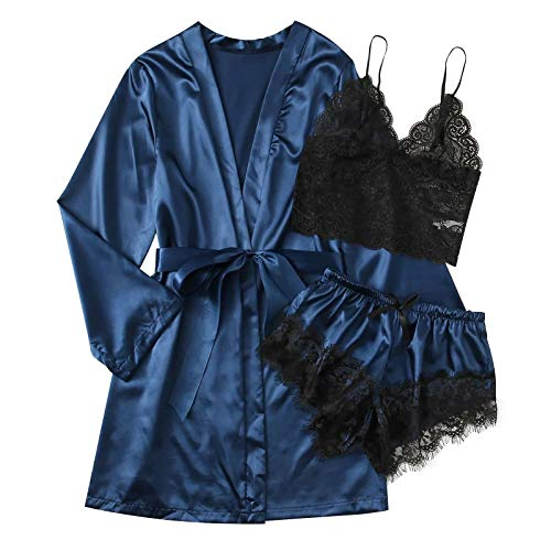 Amaeen Pijamas Mujer Sexy Conjuntos Baratos Nueva Ropa de Dormir de Seda Satinada Camisn de Seoras Lencera Batas y Ropa Interior Seductora con Cuello en V de Moda