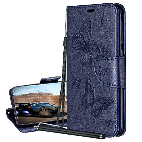 Laybomo Hülle für iPhone 6s Plus Ledertasche Schmetterling-Stil Schuzhülle Weiches TPU Silikon Cover Magnetisch Brieftasche Schale Handyhülle Apple iPhone 6s Plus mit Visitenkartenhüllen (Blau)