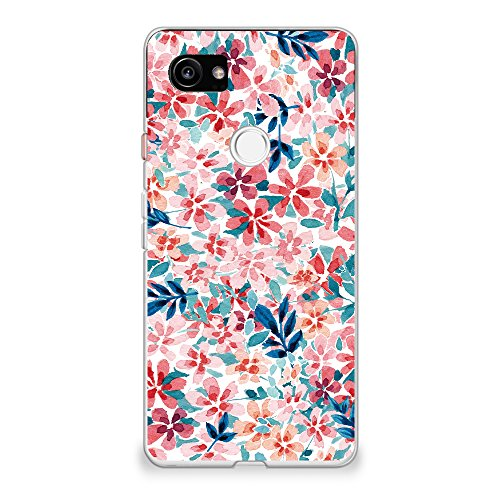 CasesByLorraine Compatible with Google Pixel 2 XL Case, Colorful Watercolor Print Floral Flowers Flexible TPU Soft Gel Protective Cover for Google Pixel 2 XL 6.0' (2017)