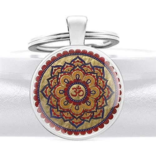 Inveroo Klassischer Hinduismus Symbol Blumen Glaskuppel Anhänger Schlüsselanhänger Charme Männer Frauen Schlüsselringe Schmuck Geschenke Schlüsselanhänger