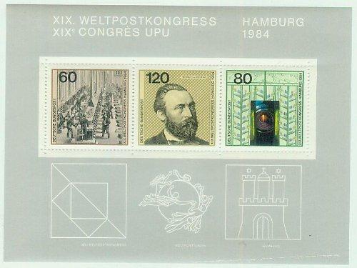 BRD Block19 (komplett) FDC 1984 XIX. Weltpostkongress Hamburg / XIX Congrés UPU (Briefmarken für Sammler) 1984 - postfrisch 60/120/80 Pf./Pfennige [Briefmarken, Weltpostverein]