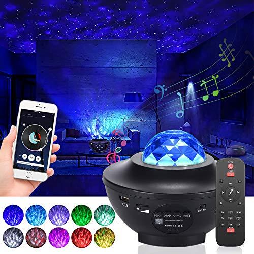 Proyector de Luz Estelar, LED de Luz Nocturna Giratorio, Lámpara de Nocturna Estrellas, Cambiar Color Reproductor de Música con Bluetooth Temporizador Control Remoto, Niños/Decoración/Regalo