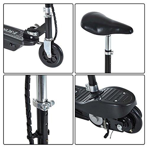 homcom Scooter Elettrico con Sella Pieghevole per Bambini Monopattino Altezza Regolabile in Metallo e PE Nero, 78 x 40 x 96cm