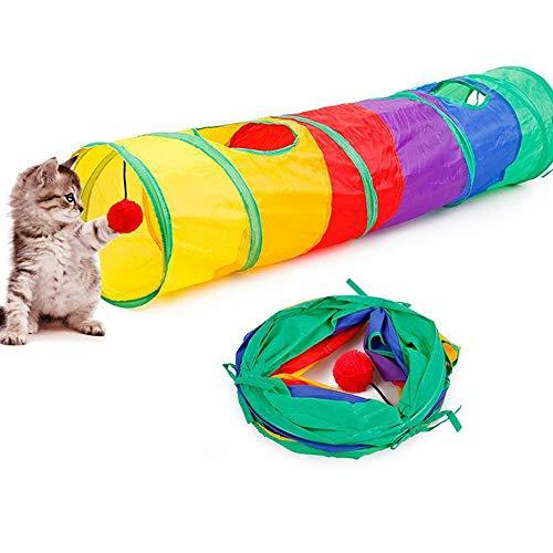 Bouddha - Túnel para gato plegable para mascotas de 2 vías, juguete para gatos con agujeros Peekaboo para interiores y exteriores, 115 x 25 cm