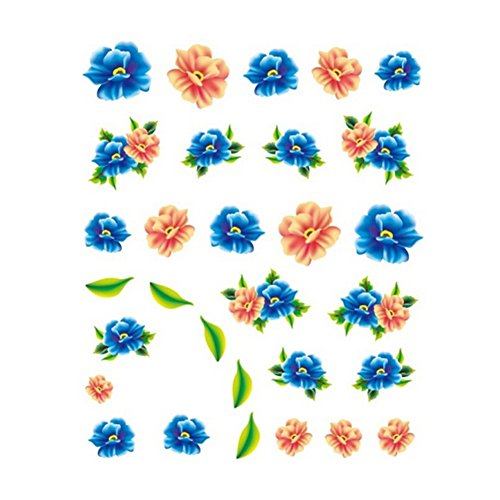 5Pcs Belle Motif Fleurs Nail Art Tips Sticker Décoration, BLE2025