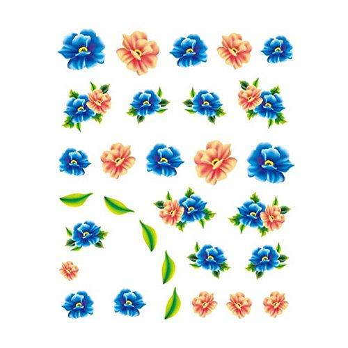 5Pcs Belle Motif Fleurs Nail Art Tips Sticker Décoration, BLE2025