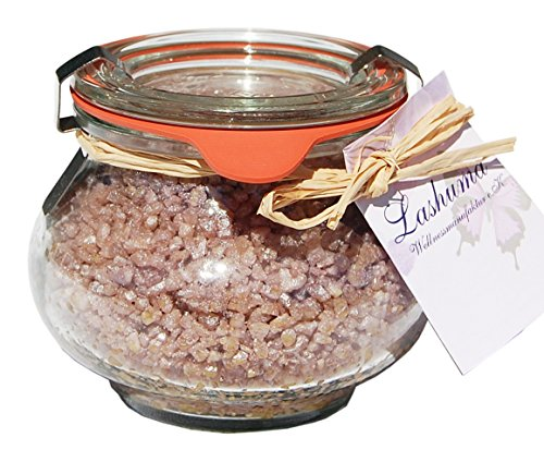 Lashuma Tote Meer Salz Badezubehör Schokolade, Badezusatz im Weck Schmuckglas 250 g, Duftendes Wellness Badesalz