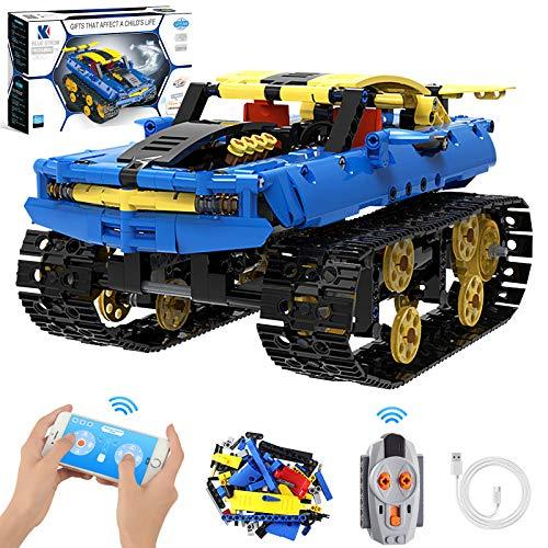 Bausteine Auto Panzer, APP & Ferngesteuerter Technik Tank Roboter RC Auto Spielzeug, 360 °Drehung wiederaufladbares Offroad Fahrzeug Konstruktionsspielzeug mit 572 Bauteilen für Kinder Jungen