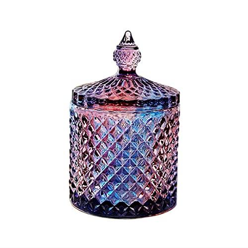 DIWA Cenicero de Vidrio de Colores con Tapa, cenicero pequeño Cerrado para el hogar/Oficina/decoración/Mesa de Comedor, 3.93 * 5.31 (Color : E)