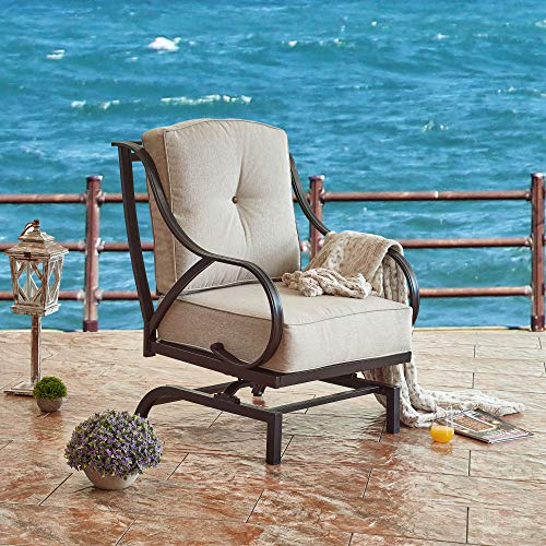 LOKATSE HOME Outdoor Bistro Wrought Iron Furniture Patio Metal Conversation Seating Chair with Thick & Soft Cushions Curved Armrest, Armchair, Beige