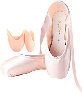 Professional Ballet Pointe Shoes Satin Ribbon Ballet Shoes with Silicone Toe Pads