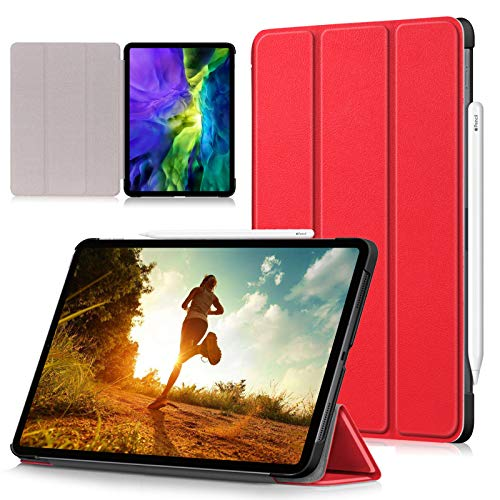 RASUNE Case for iPad Pro 11 Case 2020 & 2018,[Support 2nd Gen Apple Pencil Charging],Ultra Slim Stand Shell Smart Cover with Auto Wake/Sleep Case for iPad Pro 11 2nd Gen 2020 & 1st Gen 2018 -Red
