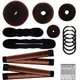 28 Pcs Donut Hair Bun Maker Set, 4 Pieces Hair Donut Bun Makers, 2 Pieces Foam Sponge Bun Shapers, 2 Pieces French Magic Twist Hairstyle Clip, 15 Pieces Hair Pin, 5 Pieces Hair Ties for Women Girl