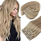 Sunny Seamless Clip in Hair Extensions Highlight Dark Ash Blonde and Golden Blonde Human Hair Clip in Extensions Double Weft Clip in Human Hair Extensions Blonde Highlight 7pcs 120g 18inch