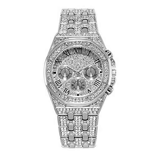 Luxus Bling Herrenuhr Iced Out Runde Kristall Strass Diamant Uhren Edelstahl Metall Band Vorwahlknopf Analoge Uhr Klassische Quarz Armbanduhr Silber Rose Gold Hip Hop Frauen Charme Armband