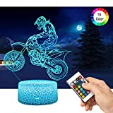 <span class='highlight'><span class='highlight'>QiLiTd</span></span> 3D Motorcycle Racer LED Gift Toy Décor Night Light, 16 Colours Smart Touch Remote Control USB & Battery Operated Dimmable Decoration Lamp for Baby Boy Girl Kids Women Men Birthday Present