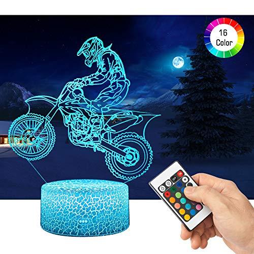 QiLiTd 3D Motorrad Rennfahrer Lampe LED Nachtlicht mit Fernbedienung, 16 Farben Dimmbare Touch Schalter Nachtlampe Geburtstag Geschenk, Frohe Weihnachten Geschenke Für Mädchen Männer Frauen Kinder