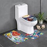 Ariel-Disney-Princess - Juego de 3 alfombras de baño antideslizantes en forma de U, funda de cojín antideslizante para baño, lavable a máquina