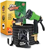 Flexi Hose Plus Lightweight Expandable Garden Hose   No-Kink Flexibility - Extra Strength with 3/4 Inch Solid Brass Fittings & Double Latex Core   Carry Case, Hook