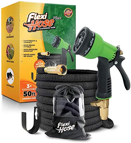 Flexi Hose Plus Lightweight Expandable Garden Hose | No-Kink Flexibility - Extra Strength with 3/4 Inch Solid Brass Fittings & Double Latex Core | Carry Case, Hook