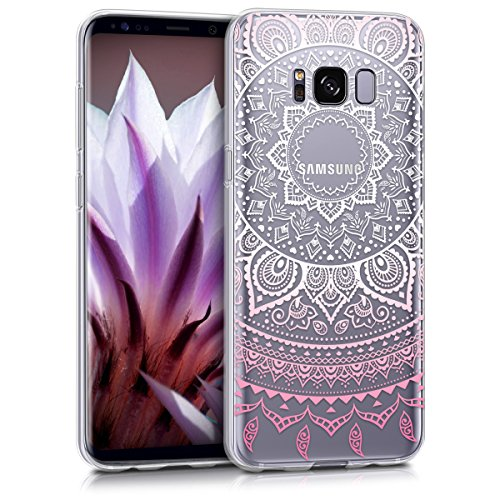 kwmobile Samsung Galaxy S8 Hülle - Handyhülle für Samsung Galaxy S8 - Handy Case in Indische Sonne Design Rosa Weiß Transparent
