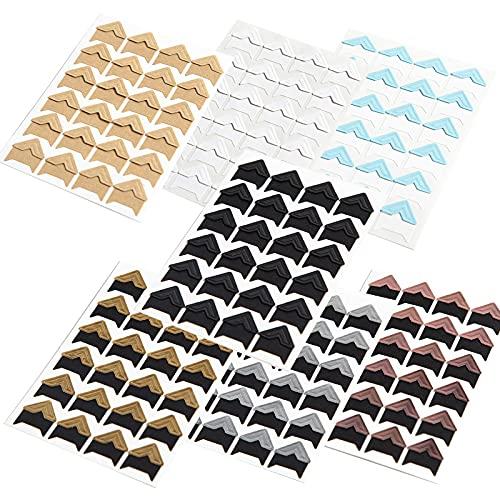 Fotoecken Aufkleber Selbstklebende Fotoecken Papier Aufkleber Photo Corners Self-Adhesive für DIY Scrapbooking, Fotoalbum,Tagebuch Dekoration, persönliche Organizer, Notizbuch (7 Bögen, 7 Farben)