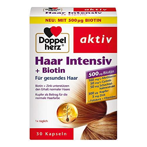 Doppelherz Haar Intensiv – Biotin und Zink als Beitrag zum Erhalt normaler Haare – 1 x 30 Kapseln