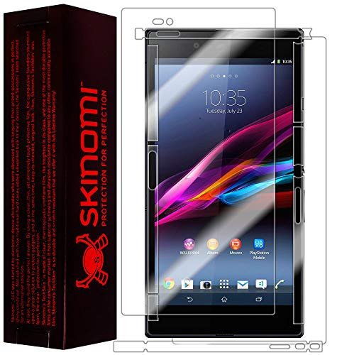 protector for xperia Skinomi Full Body Skin Protector Compatible with Sony Xperia Z Ultra (Screen Protector + Back Cover) TechSkin Full Coverage Clear HD Film