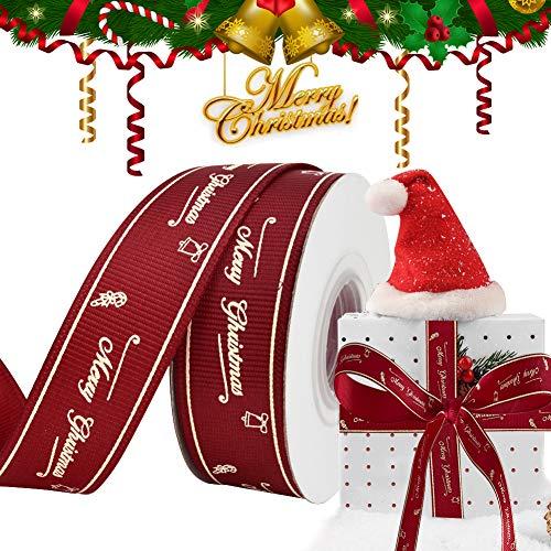 Weihnachten Geschenkband Satinband, ZAWTR Rot Weihnachtsbänder Schleifenband mit Merry Christmas zum Geschenk Verpackung, Breit Ripsband Dekoband für Weihnachten Baum Basteln Deko (20mm, 10Yard)