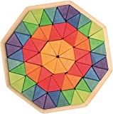 Grimm's Large Octagon Form Building Set - Wooden Mosaic Block Puzzle, 72 Triangles