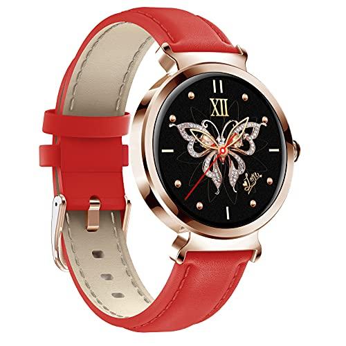 QFSLR Smartwatch Mujer, Reloj Inteligente Impermeable IP67 con Monitor De Frecuencia Cardíaca Monitor De Presión Arterial Ciclo Menstrual Femenino Seguimiento del Sueño Android Y iOS,Rojo