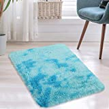 CAROMIO Abstract Shag Soft Area Rug, Fluffy Fuzzy Foyer Rug for Entryway Non-Skid Furry Plush Accent Rugs for Living Room Bedroom Nursery Rug Playroom Area Rug for Kids Carpets, Light Blue, 2'x 3'