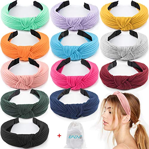 EAONE 12 Pieces Knot Headband, Knot Turban Headbands Knitted Elastic Wide Plain Headbands, Knotted Boho Headbands for Women and Girls, 12 Colors, with 1 PC Pouch Bag