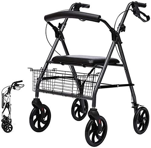 Rollator Walker Seniors - Andador de interior para caminante estándar con freno, ruedas para personas mayores con asiento, cesta y ruedas de 6 pulgadas, peso ligero ajustable