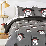 Amazon Basics Kids Easy-Wash Microfiber Bed-in-a-Bag Bedding Set - Full/Queen, Pirate Cove