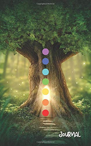 Chakra Tree of Life Journal: Forest Green Light of Spirit Design with Cream Blank Pages Notebook Pla