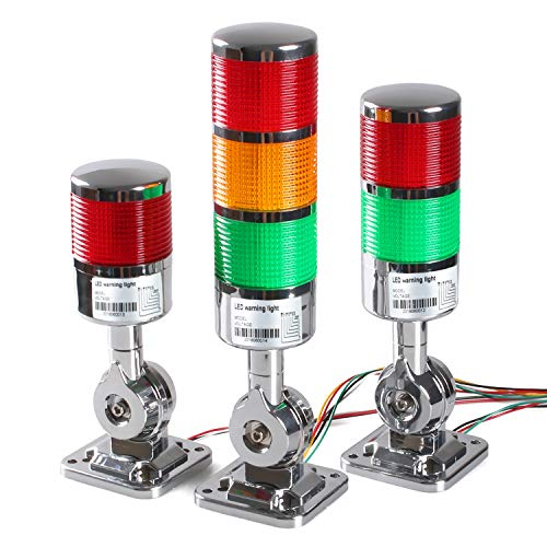 12-24V LED Stack Tower Lights, Industrial Warning Lights, Andon Lights, Column Signal Tower Indicator Lamp Beacon, Continuous/Flashing Light Switchable, 3 Level (with Buzzer)