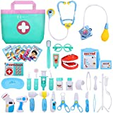 NextX 38 Pcs Toy Medical Kits, Pretend Play Doctor Kit Toys, Kids Electronic Stethoscope Dentist Medical Kit Gifts Boy & Girl Learning Educational Toddler Games Role Play Ages 3 and up