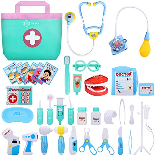 NextX Toy Doctor Kits, 38 Pcs,, Pretend Play Doctor Kit Toys, Kids Electronic Boy & Girl Learning Educational Toddler Games Role Play Ages 3 and up